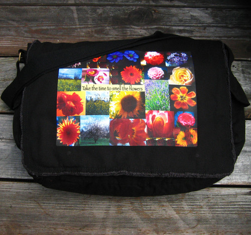 Take Time to Smell the Flowers messenger bag