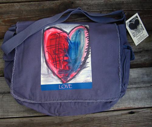 Cosmic Interlude of Love Heart messenger bag