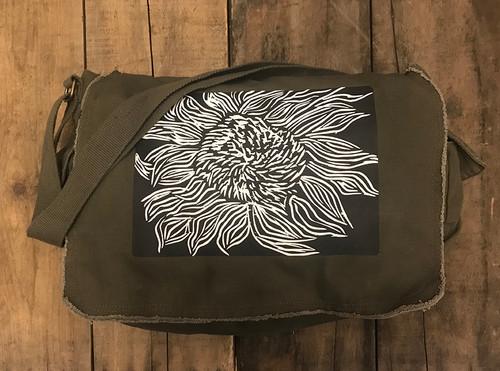 Black Sunflower (Woodcut) Cotton Messenger Bag