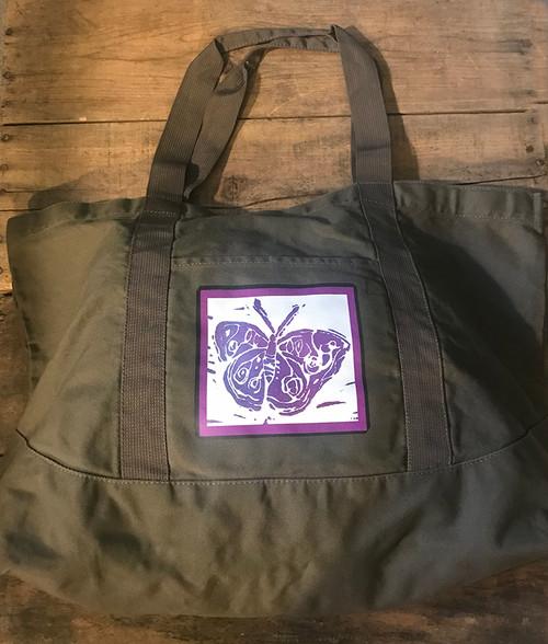 Butterfly (Block Print) Cotton Canvas Beach/Market Tote Bag