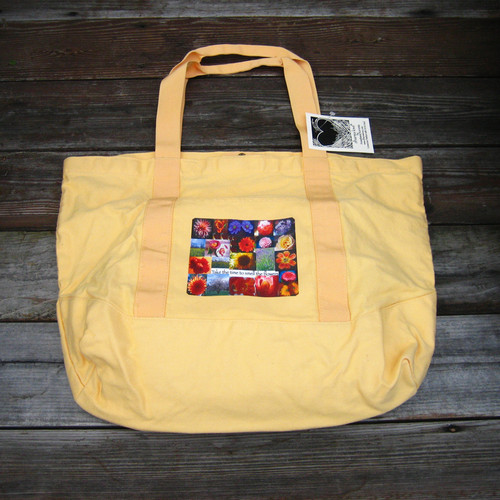 Take Time to Smell the Flowers Cotton Canvas Beach/Market Tote Bag