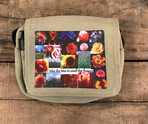 Take the time to smell the flowers Small & Large City Slicker Hemp purse