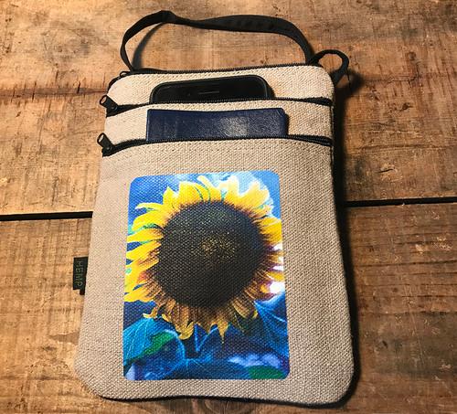 Majestic Sunflower Hemp 3 Zip Bag/Purse