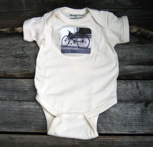 Bike (Vintage Bicycle) Certified Organic Cotton Baby Onesie/One Piece
