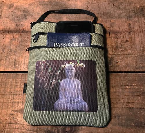 Buddha and Blossoms Hemp 3 Zip  Bag/Purse