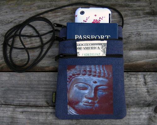Buddha's Face Hemp 3 Zip Bag/Purse
