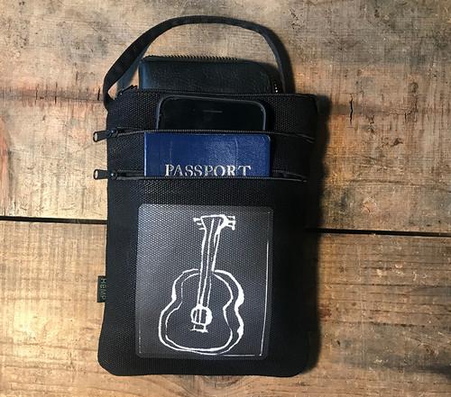 Guitar (Block Print) Hemp 3 zip Cross Body Bag/Purse
