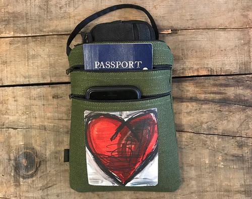 Falling into Ecstasy Heart Hemp 3 Zip Cross Body Bag/Purse