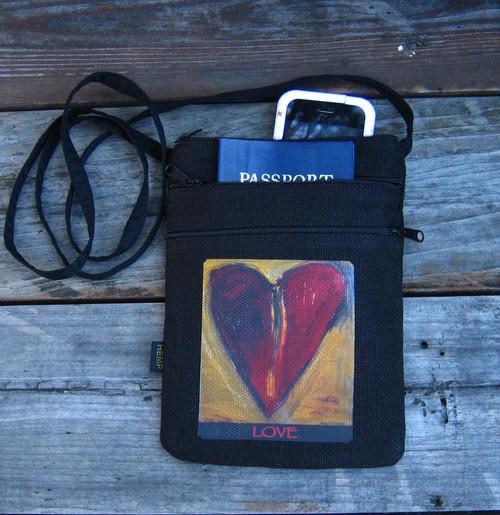 Sacred Love Heart Hemp 3 Zip Cross Body Bag/Purse