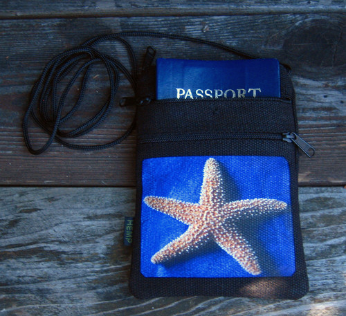 Starfish Hemp 3 Zip Bag/Purse