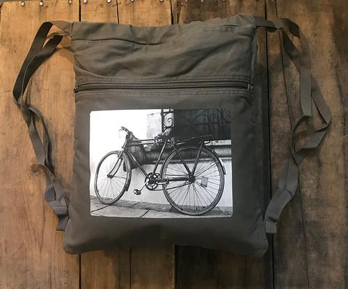 Bike Boho Cotton Canvas Cinch Backpack