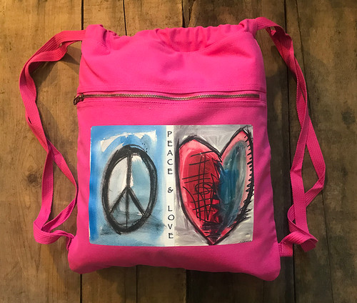 Peace & Love Boho Cotton Canvas Cinch Backpack