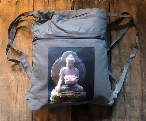 Shakyamuni Buddha Boho Cotton Canvas Cinch Backpack