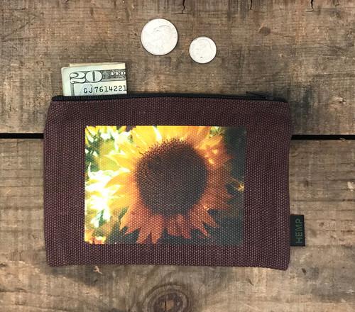 Sunflower  Medium & Large Hemp Coin Purse