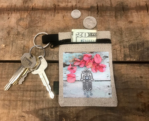 Hamsa (Hand of Protection) Hemp Key Coin Purse/Pouch