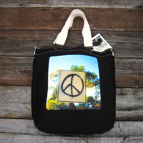 Peace Sign Taos Cotton Girly Tote/Purse