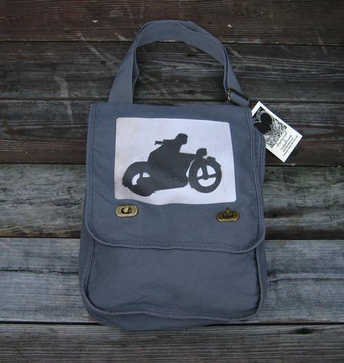 Motorcycle Symbol Cotton Canvas Field/Messenger Bag