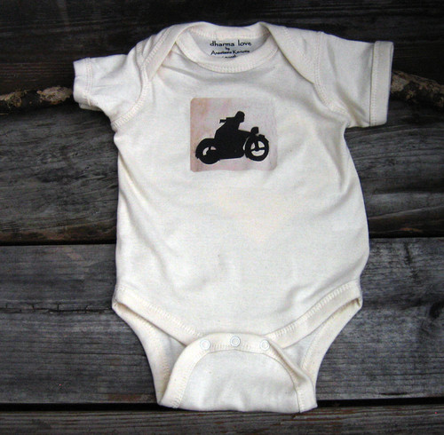 Motorcycle Symbol Certified Organic Cotton Baby Onesie/One Piece