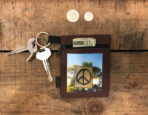 Peace Sign Taos Hemp Key Coin Purse