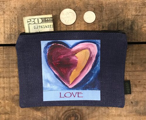 Besitos Dulces Heart (sweet kisses) LOVE Medium & Large Hemp Coin Purse