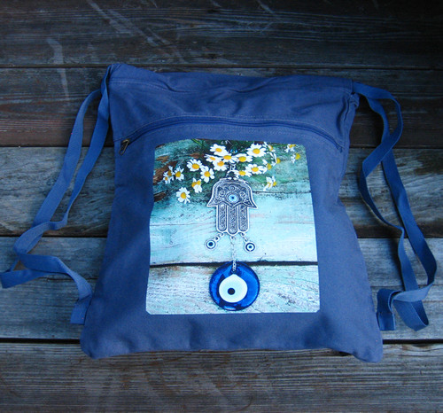 Hamsa w/feverfew Boho Cinch Back Pack