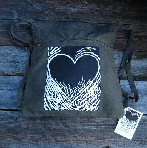 Flaming Heart of Love (woodcut) Boho Cotton Canvas Cinch Backpack