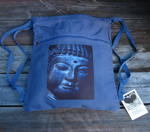 Buddha's Face Boho Cotton Canvas Cinch Backpack