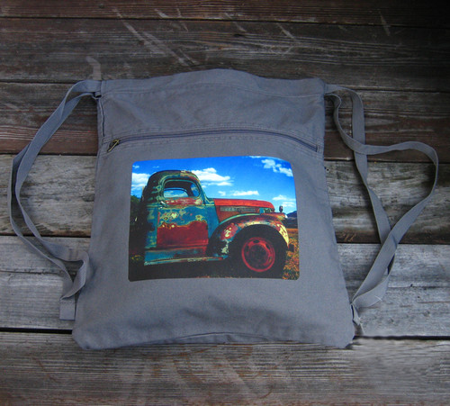 Truck in Taos Boho Cotton Canvas Cinch Backpack