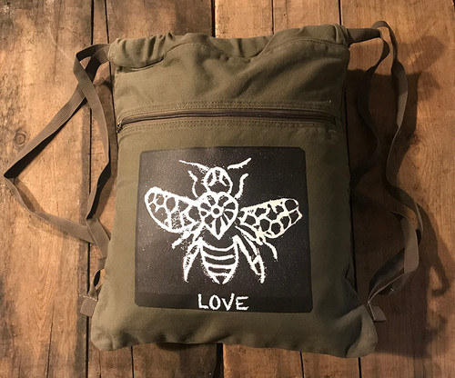 Bee Love (Block Print) Boho Cotton Canvas Cinch Backpack