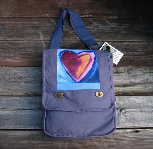 Besitos Dulces Heart (sweet kisses) LOVE Cotton Canvas Field/Messenger Bag