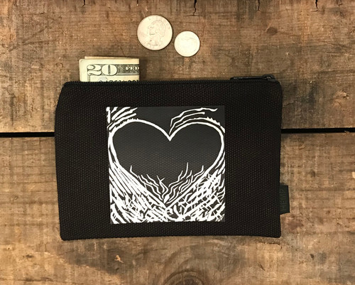 Flaming Heart of Love Medium & Large Hemp Coin Purse