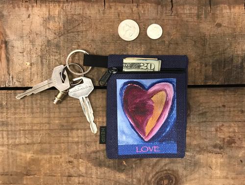 Besitos Dulces (Sweet Kisses) Heart Hemp Key Coin Purse