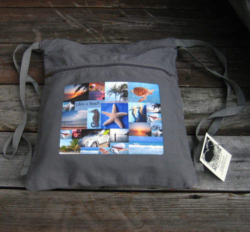 Life's a beach Boho Cotton Canvas Cinch Backpack