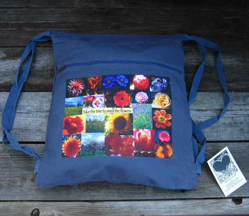 Take the time to smell the flowers Boho Cotton Canvas Cinch Backpack