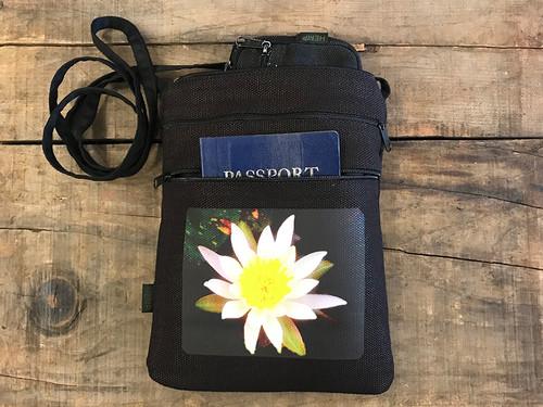 Water Lily Hemp 3 Zip Cross Body Bag/Purse
