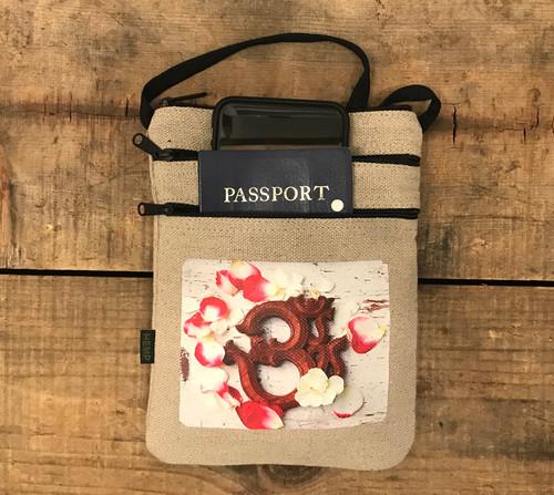 OM with rose petals Hemp 3 Zip Cross Body Bag/Purse