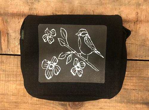 Bird with blossoms (block print) Small & Large City Slicker Hemp Purse