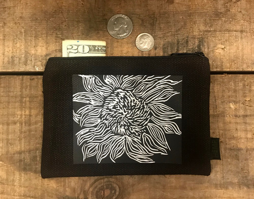 Black Sunflower Medium & Large Hemp Coin Purse