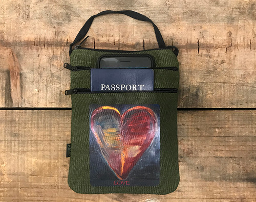 Healing Heart  Hemp 3 Zip Bag/Purse