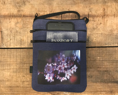 Blossoms Hemp 3 Zip Cross Body Bag/Purse