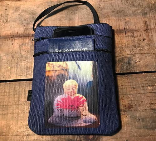 Buddha w/Gerbera Daisy Hemp 3 Zip Cross Body Bag/Purse
