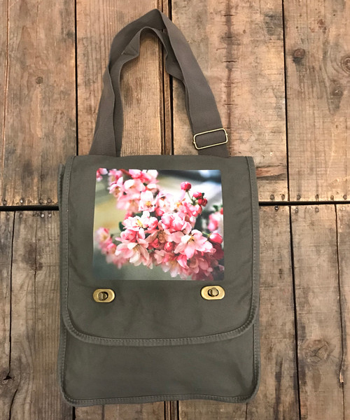 Pink Blossoms Cotton Canvas Field/Messenger Bag