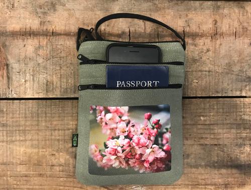 Pink Blossoms  Hemp 3 Zip Cross Body Bag/Purse