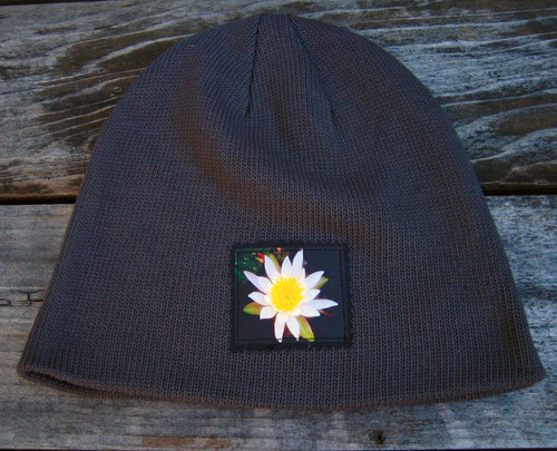 front of gray beanie