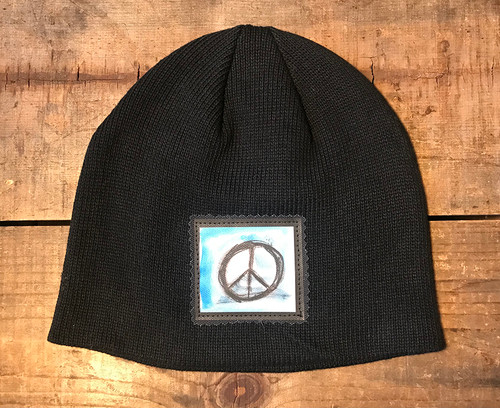 Peace Sign Organic Cotton Beanie Hat