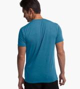 back view of model wearing caribbean blue crew tee