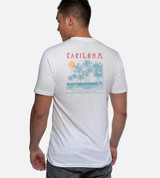 back view of model wearing cariloha beach white crew back design