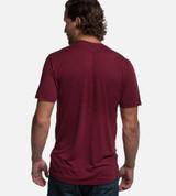 back view of model wearing rockwood red comfort crew tee