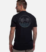 back view of model wearing black crew tee with back high tide design