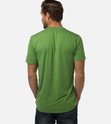 back view of model wearing palm green tee